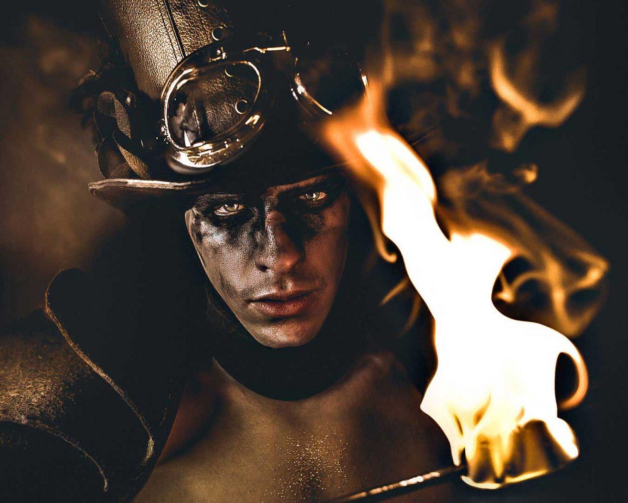 fire breather firebreather steampunk fire sputafuoco natural light alberto feltrin ritratto portrait